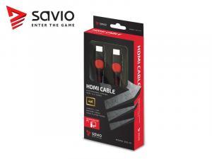 Kabel HDMI-HDMI v2.0, OFC, miedź, 3D, gamingowy, PC, czerwono-czarny, oplot, 4K, 1.8m SAVIO GCL-01