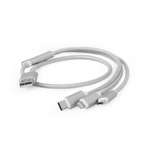 Kabel USB 3w1 do ładowania/1m/srebrny
