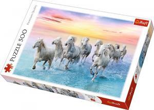 500 elementów Białe Konie w galopie