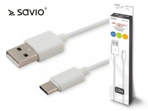 Kabel USB - USB typ C 2.1A, 1m SAVIO CL-125
