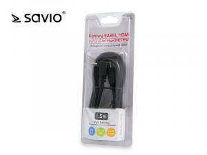 Kabel HDMI-HDMI złoty v2.0, OFC, SAVIO CL-108, 3D, 4Kx2K, miedź, 1.5m, kątowy, blister