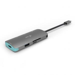 USB-C Metal Nano Stacja Dokująca 1x HDMI 4K Ultra HD 3840 x 2016 @ 30Hz 1x czytnik SD 1x czytnik micro SD 3x USB 3.0 1x USB-C Power D