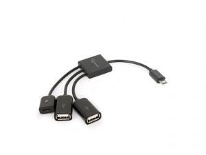 Kabel OTG USB Micro BM -> 2xUSB-AF+Micro BF 13cm