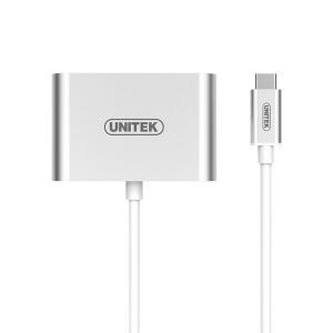 Adapter USB Typ-C na HDMI/VGA, aluminium; Y-V100