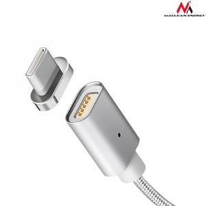 Kabel USB Type-C magnetyczny srebrny MCE178