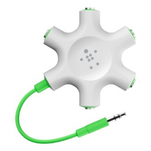 Adapter rozdzielacz audio słuchawki 3,5mm do 5x3,5mm biały
