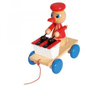 Drewniana zabawka z ksylofonem Pociągnij za kaczkę