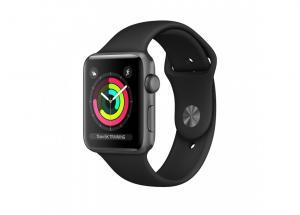 Zegarek Series 3 GPS, 38mm koperta z aluminium w kolorze gwiezdnej szarości z paskiem sportowym w kolorze czarnym