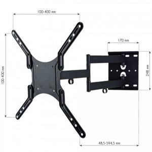 Uchwyt ścienny LCD/LED 23-55cali podwójne ramię, 45kg, czarny