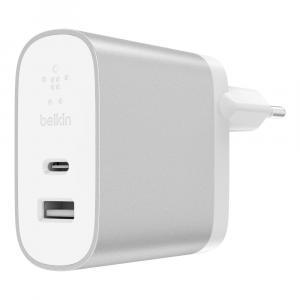 Ładowarka sieciowa USB-C 27W USB-A 12W srebrna