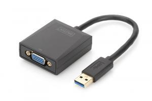 Adapter graficzny VGA 1080p FHD na USB 3.0, aluminiowy, czarny
