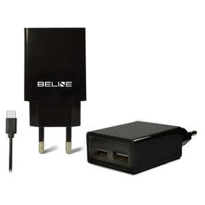 Ładowarka sieciowa 2xUSB + USB-C 2A czarna