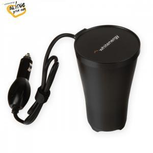 Przetwornica samochodowa 150/300W, 2x ładowarka USB, 2x4,8mAh, uniwersalne gniazdo EU/UK/US, gniazdo zapalniczki 12-230V, kształt kubka