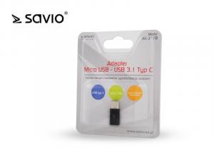 Adapter Micro USB (F) - USB 3.1 Typ C (M) Savio AK-1/B transfer danych, ładowanie