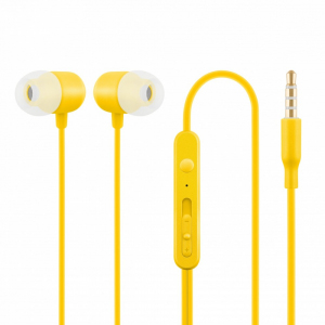 Słuchawki z mikrofonem douszne żółte HE21Y