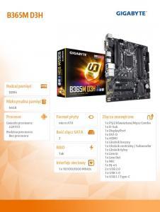 Płyta główna B365M D3H 4DDR4 s1151 HDMI/DVI/VGA u-ATX