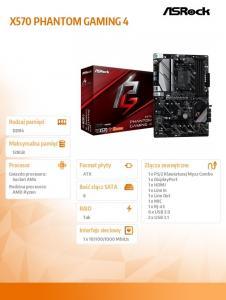 Płyta główna X570 Phantom Gaming 4 AM4 4DDR4 HDMI/DP M.2 ATX