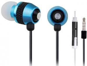 Słuchawki douszne z mikrofonem niebieskie