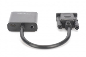 Konwerter/adapter audio-video VGA do HDMI, 1080p FHD, z audio 3.5mm MiniJack