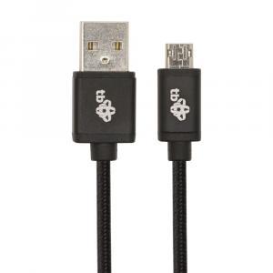 Kabel USB - Micro USB 1m. dwustronny czarny