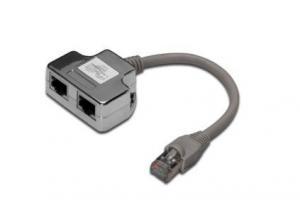Adapter RJ45 na kablu / 2x gniazdo RJ45 ekran