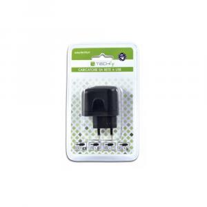 Sieciowa ładowarka USB 5V 2.1A dwa porty USB, czarna