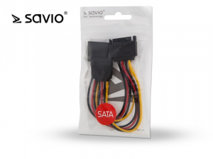 Kabel zasilający / adapter SATA 15pin M - 2xSATA 15pin F SAVIO AK-17 wielopak 10 szt.