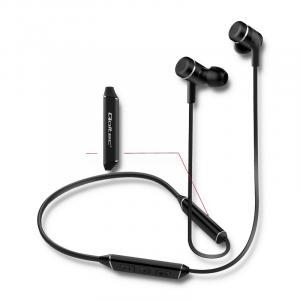 Słuchawki magnetyczne bezprzewodowe BT, dokanałowe, z mikrofonem, czarne