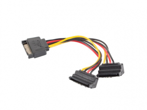 Kabel SATA zasilający - SATA 90''x2 M/F 15cm