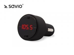 Transmiter FM SAVIO TR-09 z bluetooth, funkcja zestawu głośnomówiącego i ładowarki