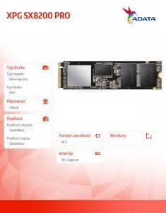 Dysk XPG SX8200 PRO 256GB PCIe 3.3/1.2 GB/s M.2