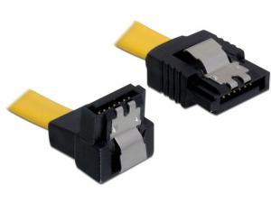 Kabel SATA 6Gb/s 30cm kątowy dół/prosty (metalowe zatrzaski) żółty