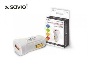 Ładowarka samochodowa Quick Charge 3.0 Savio SA-05/W 3A, 1xUSB