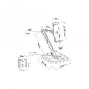 Ramię biurkowe/ścienne do Tabletu i iPad 4,7-12cali regulowane czarne