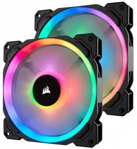 Fan LL140 RGB LED PWM 2 Fun Pack Dual Light Loop RGB LED PWN Fan - 2 Fan Pack with Lighting Node PRO