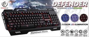 DEFENDER Aluminiowa multimedialna klawiatura dla graczy USB, podświetlana w 3 kolorach