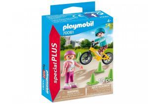 Figurka Dzieci na rolkach i rowerze