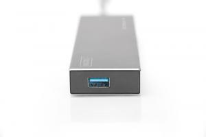HUB/Koncentrator 7-portowy USB 3.0 SuperSpeed, aktywny, aluminium