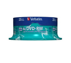 DVD-RW 4x 4.7GB 25P CB Matt Silver 43639
