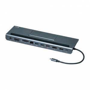 Stacja dokująca USB-C Metal Low Profile 4K Triple 1x HDMI 1x VGA 1x DisplayPort 1x Ethernet 1x Audio Power Delivery 85W