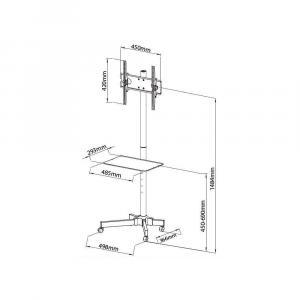 Stojak mobilny LCD/LED 23-55cali regulowany z półką, czarny