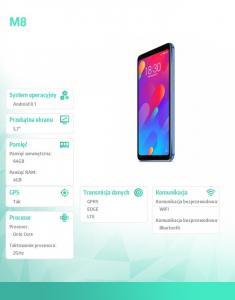 Smartfon M8 64GB niebieski