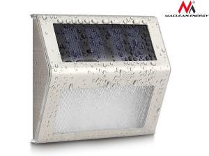 Lampa solarna 2LED na ogrodzenie, schody MCE119 Energy Inox