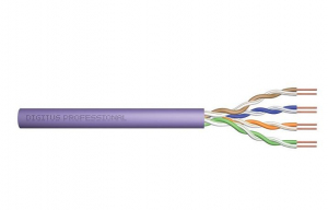 Kabel teleinformatyczny, instalacyjny, U/UTP kat.6, drut, miedziany, PVC, 305m, fioletowy