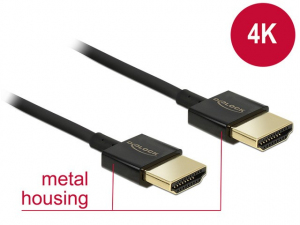 Kabel HDMI-HDMI High Speed Ethernet 4K 3D Slim 3m czarny