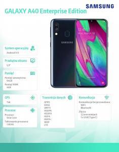 Galaxy A40 Dual SIM 4/64GB Enterprise Edition Czarny, następca modelu SM-A405FZKDXEO