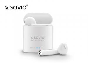 Słuchawki bezprzewodowe Savio TWS-01 BT 5.0 z mikrofonem i power bankiem