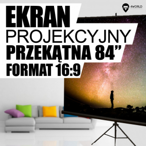 Ekran projekcyjny na statywie 186x105 (84