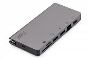 Stacja dokująca USB Typ C, 8 portów, 4K 30Hz, PD 3.0 HQ aluminiowa