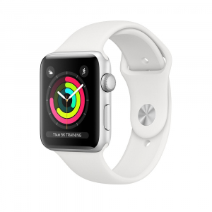 Zegarek Series 3 GPS, 38mm koperta z aluminium w kolorze srebrnym z paskiem sportowym w kolorze białym